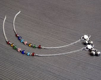 Round Stone anklets | Colored anklets | Wedding gift jewelry anklet | Fusion gift anklet | Silver plated chain anklets | Gift jewelry | A124