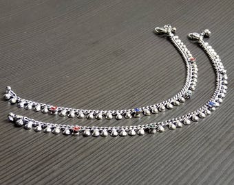 Ethnic anklets | Tribal girls anklets | Barefoot anklet | Silver plated anklet | Wedding wear anklet | Gift anklets for jewelry her | A127