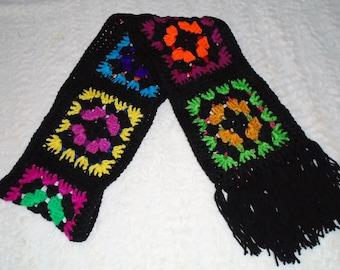 Crocheted Granny Square Retro Boho Style Women's Scarf CRAZY BLACK