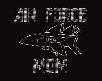 "Air Force Mom (8x9"") Rhinestone Bling T-Shirt"