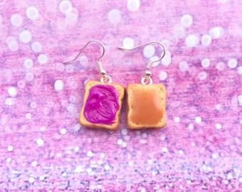 Peanut butter and jelly earrings, pb&j earrings, peanut butter earrings, jelly earrings, food jewelry, fake food earrings, fake food, kawaii