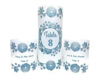 Table numbers,  Luminaries , Table decor, Wedding table centerpiece, Winter wonderland, Snowflake centerpiece, Winter wedding, candles