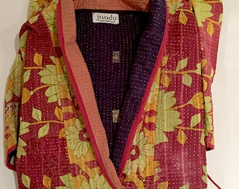 Vintage cotton | PINK/YELLOW flowers | Kantha stitch dressing gown made from vintage saris | Vintage cotton robe | Kantha stitch robe