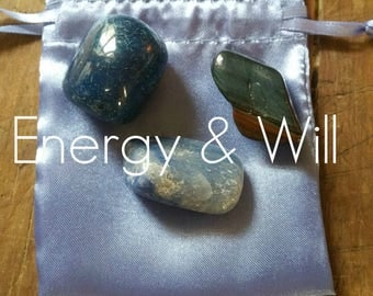 Gemstones to help with Energy & Will, with French Blue Satin Pouch
