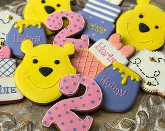 Winnie the Pooh cookies (12)- Birthday  cookies, Baby Shower cookies, Girls Cookies, Boy's cookies, Custom cookies