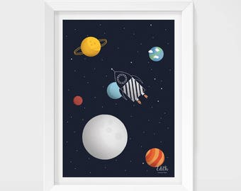 """A3 poster """"Space rocket"""""""