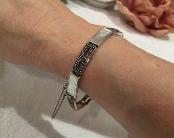 Gorgeous Vintage Sterling Silver Bracelet-MARCASITE and MOTHER of PEARL-Lots of Sparkle-Length 19cm (7.5 inches)-Weighs 16.52 grams