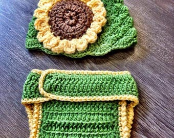 Crochet Sunflower Baby Photo Prop Outfit, Spring Flower Baby Outfit, Spring Baby Photo Prop