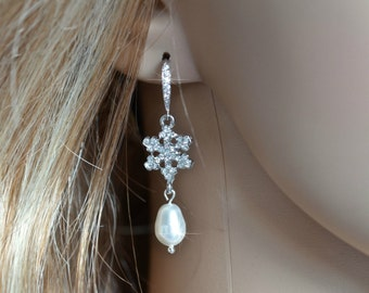 Handmade Vintage Inspired Crystal & Pearl Snowflake Dangle Earrings (Pearl-199)