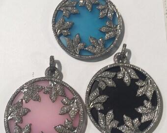 4O MM onyx pave white topaz sterling silver pendant