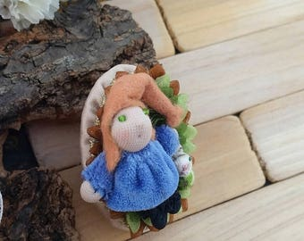 Friendship gnome brooch, fabric gnome brooch, miniature gnome brooch, miniature rabbit brooch, fabric gnome, gnome and rabbit brooch, cute.