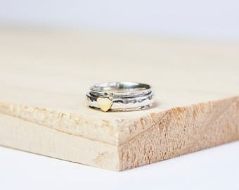 Athena Spinning Ring, Sterling Silver Spinner Ring, Anxiety Ring, Fidget Ring, Worry Ring, Meditation Ring, Fidget Jewelry, Heart Spinner