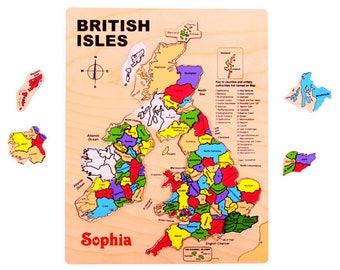 jigsaw map, British Isles. Personalised.