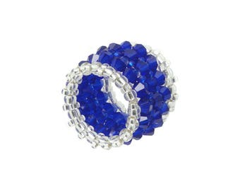 Wide memory ring - Crystal cut glass - Royal blue / silver - approx. 18 mm wide (BS-1345)