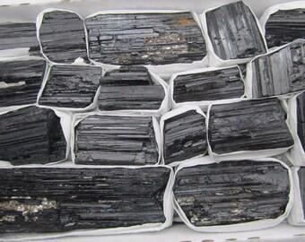Bulk Naturally Formed Black Tourmaline Logs - 13 PCS.