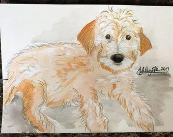 8x10 Pet Portrait Custom Watercolor