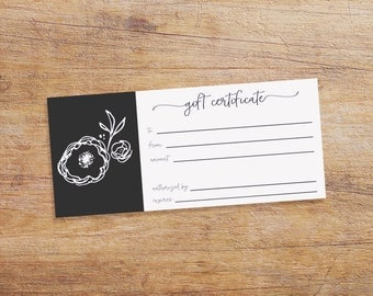 Printable Gift Certificate for your Small Business - Instant Download - Black and White with Flower