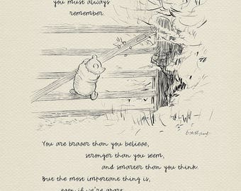 If ever there is tomorrow...  Winnie the Pooh Quotes - classic vintage style  poster print based on original drawing by E.H. Shepard #05