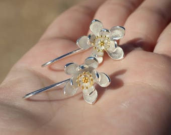 Sterling Silver Special Lily Flowers Earrings with Golden stud.