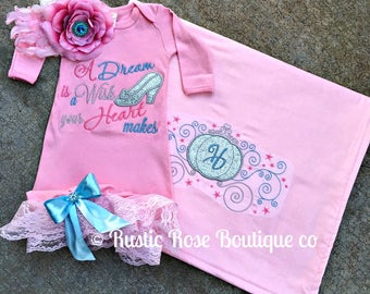 Layette gown, Baby layette, Baby gown, Baby girl gown, Baby blanket, Baby girl blanket, New baby, Baby girl, Boutique outfits, Baby shower