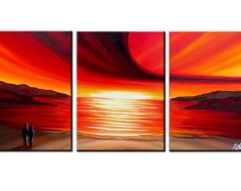 LARGE, Original, PAINTING on Canvas, landscape/Seascape, sunset, Wall Art, Modern, Contemporary
