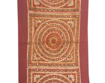Indian Mirror Work Hand Embroidery wall tapestry/Gypsy bohemian tribal handmade wall curtain/banjara style wall hanging
