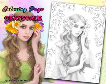 PRINTABLE Coloring Page, Grayscale. fantasy fairy portrait