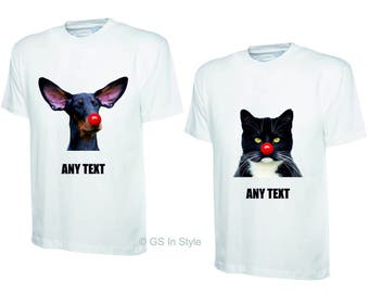 PERSONALISED T-SHIRT - cat or dog image with red nose