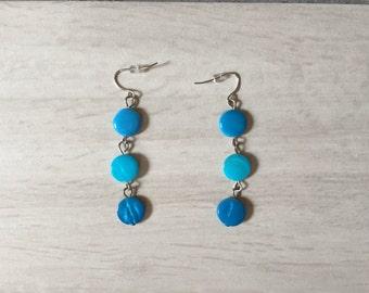 ocean blue earrings | minimalist dangle earrings