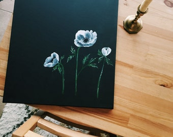 Watercolor acrylic painting on black canvas