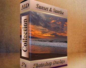 Sky overlays - sunset  & sunrise overlay  night sky overlay (20 HD jpg files)