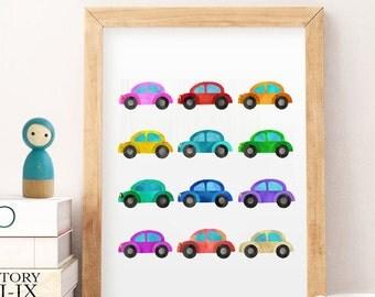 CARS RAINBOW Boys Room Wall Art,Playroom Art, Playroom Sign, Play Print, Playroom Print, Playroom Decor, Kids Playroom Poster,  Wall Art 1