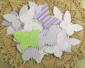 Butterfly Paper Cutouts Large Butterfly Table Decor Purple and Green Spring Confetti Hand Punched Paper Crafting Table Decorations Journal