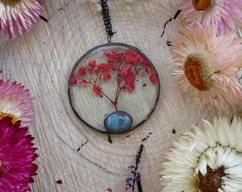 Pressed flower necklace, plants terrarium, botanical glass, Baby's breath flower, tree of life, real plant pendant, labradorite cabochon