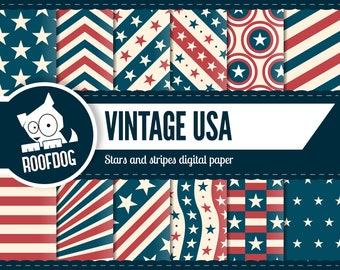 Fourth of July digital paper | USA digital | stars and stripes | red white and blue | vintage 4th July | July 4 | Independence Day | America