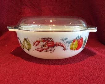 Pyrex JAJ Lobster 3 pint Easy-Grip casserole Dish circa 1960