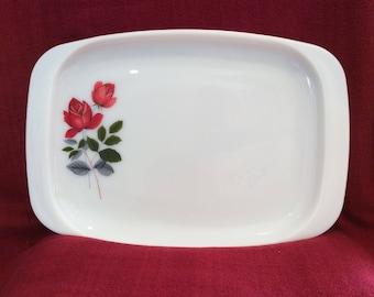 "Pyrex JAJ June Rose Platter Serving Tray 10 1/8"" x 14 7/8"" circa 1960"