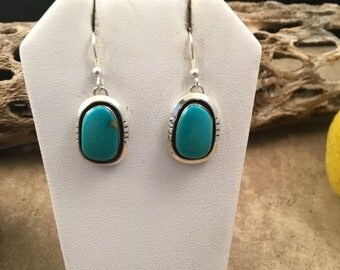 Vintage Navajo Kingman Turquoise and Sterling Silver Earrings