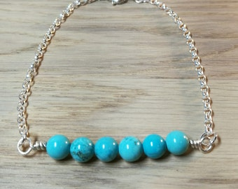 Sterling Silver and Turquoise bar bracelet, mens or unisex gift