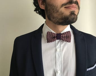 Fred Bowtie | Knitting mauve and purple bow tie, totally handmade in pure cotton | Perfect gift for him