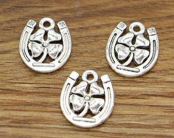 20pcs Clover Charm Good Luck 4 Leaf Clover Charm Antique Silver Tone 15x18mm cf2795