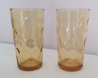 Vintage Hazel Atlas Optic Dots Pattern Amber Drinking Glasses, 1960's Glass Tumblers, Vintage Amber Tumblers, Vintage Hazel Atlas Glasses