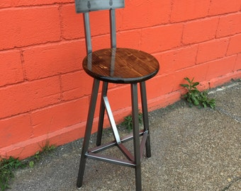 Alpha Stool - Made To Order - Bar Stool w/ Seat Back - Multiple Finishes - Adjustable Foot Levelers.