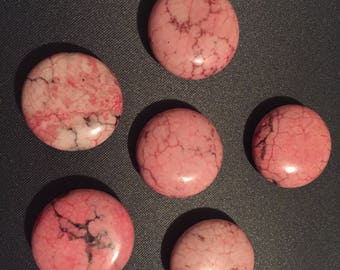 pink Flat magnesite beads