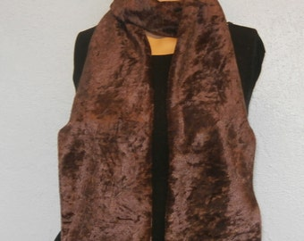 Brown Crushed Velvet Scarf 15 cm x 150 cm Women's / Ladies Lovely Soft And Warm Great Accessory Gift
