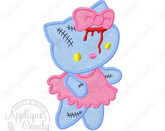 Kitty Zombie Applique Machine Embroidery Design File 4x4 5x7 6x10 hk cat hello Halloween INSTANT DOWNLOAD