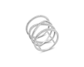 Rhodium plated Sterling Silver Spiral ring w/Cz ring
