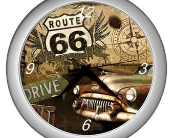 Wall clock Route 66  vintage image Wall  decor old car decor