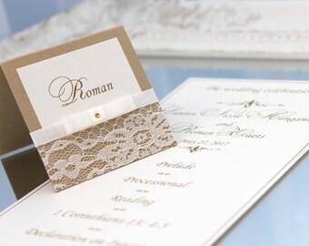 10 pcs wedding place cards, gold wedding place cards, place cards with lace, ivory lace place cards, gold place cards, handmade place cards