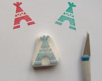 Teepee rubber stamp, tipi stamp, teepee stamp, tepee stamp, indian teepee stamp, camping stamp, indian style, african style, teepee, tipi
